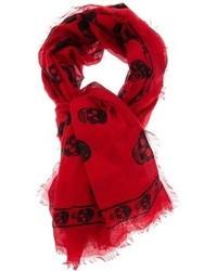 Bufanda de Seda Estampada Roja de Alexander McQueen