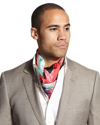 Bufanda de seda estampada roja de Davidoff