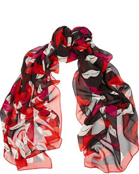 Bufanda de seda estampada roja de Diane von Furstenberg