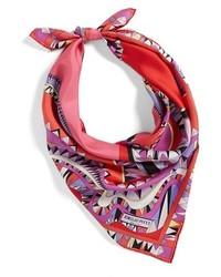 Bufanda de seda estampada roja de Emilio Pucci