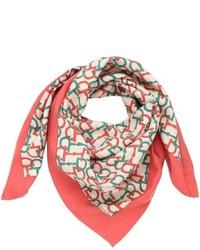 Bufanda de seda estampada roja de Gucci