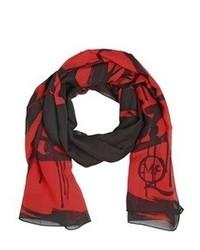 Bufanda de seda estampada roja de McQ by Alexander McQueen