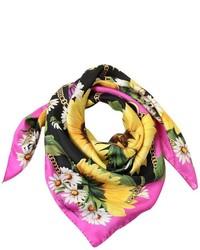 Bufanda de Seda Estampada Rosa de Dolce & Gabbana