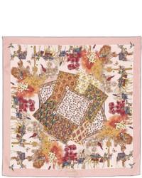Bufanda de seda estampada rosada de Salvatore Ferragamo