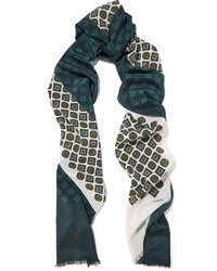Bufanda de seda estampada verde oscuro de Lanvin