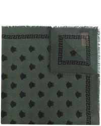 Bufanda de seda estampada verde oscuro de Versace