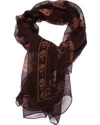 Bufanda de seda marrón de Alexander McQueen