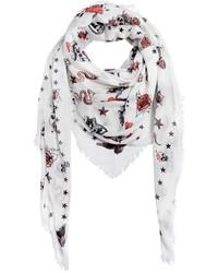 Bufanda estampada blanca de Alexander McQueen