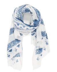 Bufanda Estampada en Blanco y Azul de Cara