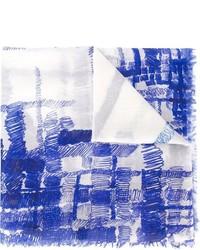 Bufanda estampada en blanco y azul de Chanel