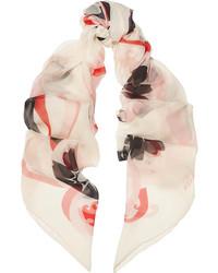 Bufanda estampada en blanco y rojo de Alexander McQueen