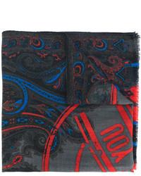 Bufanda estampada en gris oscuro de Etro