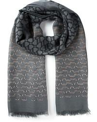 Bufanda estampada en gris oscuro de Gucci