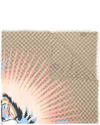 Bufanda estampada marrón claro de Gucci