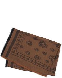 Bufanda estampada marrón de Alexander McQueen