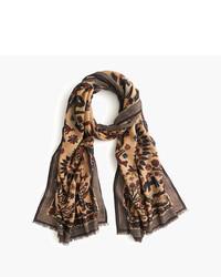Bufanda estampada marrón de Drakes
