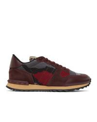 Valentino Burgundy And Grey Garavani Rockrunner Sneakers