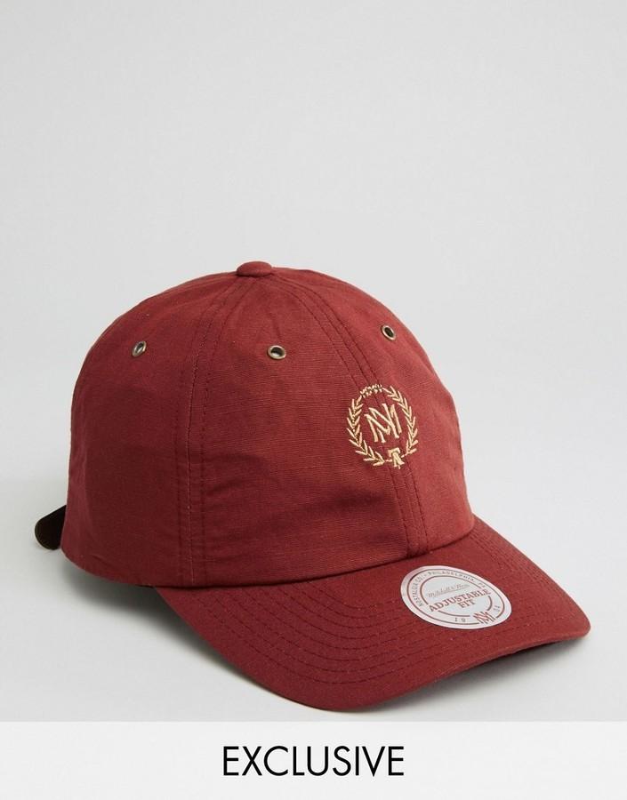 34448e31840c9 ... Burgundy Baseball Caps Mitchell   Ness Cap Adjustable Linen To ...