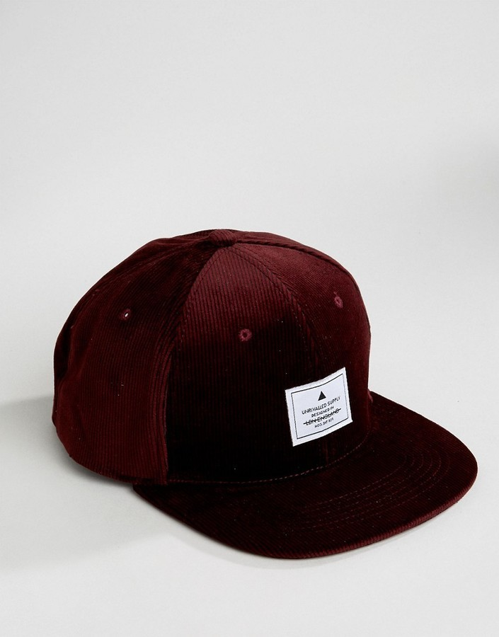 9f6466830ad1f ... Baseball Caps Asos Snapback Cap In Burgundy Cord ...
