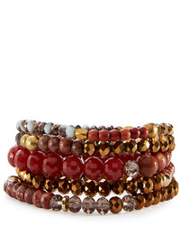 Nakamol Beaded Garnet Agate Crystal Stretch Bracelet Set