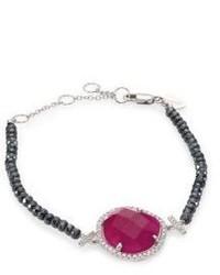 Meira T Diamond Ruby Silverite 14k White Gold Bracelet
