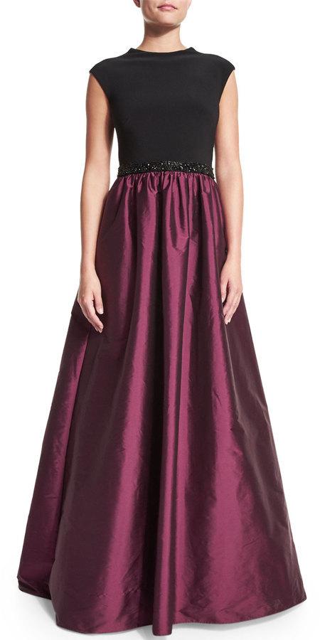 Aidan Mattox Cap Sleeve Combo Beaded Waist Ball Gown | Where to buy ...