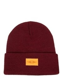 Asos Beanie Hat With Patch Burgundy