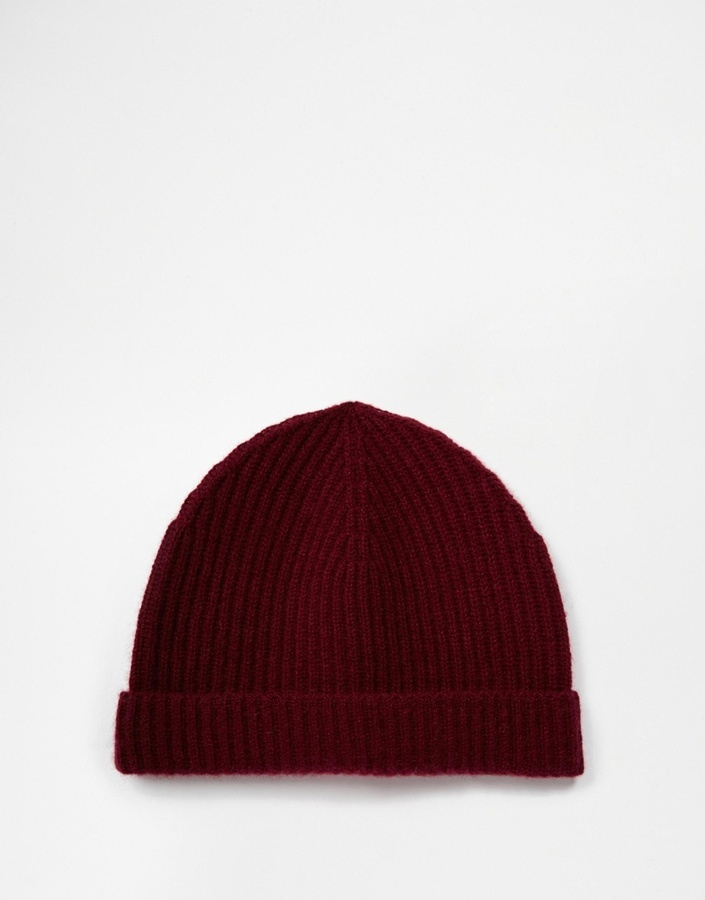 cdc6fa386 $38, Asos Brand Fisherman Beanie In Burgundy Cashmere