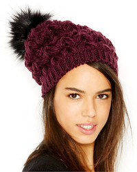 Collection XIIX Homespun Solid Beanie With Faux Fur Pom Pom