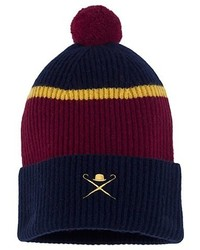 Knitted Navy Burgundy And Gold Beanie