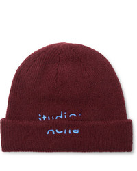Acne Studios Logo Embroidered Wool Blend Beanie