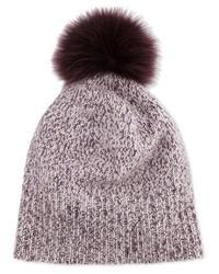 Sofia Cashmere Marled Cashmere Pompom Beanie Hat Plum