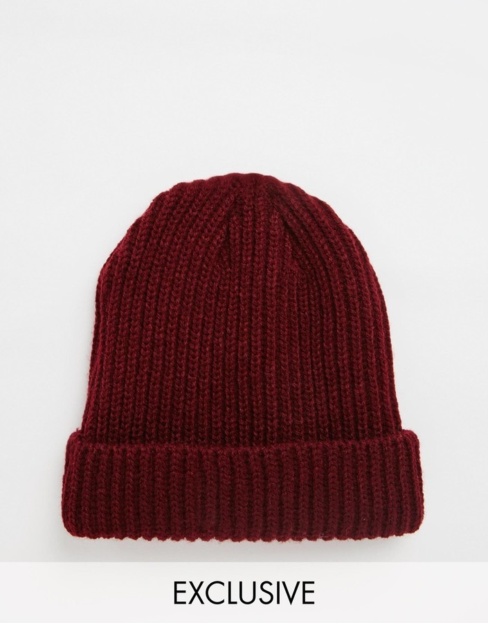 ... Reclaimed Vintage Mini Fisherman Beanie In Burgundy ... 973fc8e8ea1