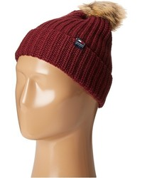 Tommy Hilfiger Ribbed Cuff Hat With Faux Fur Pom Caps
