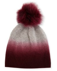 Sofia Cashmere Ribbed Dip Dyed Cashmere Beanie Hat Burgundy