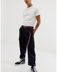 ASOS DESIGN Slim Long Ended Belt In Purple Plastic