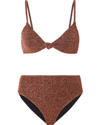 Caroline Constas Marta And Mykela Twist Front Stretch Lurex Bikini