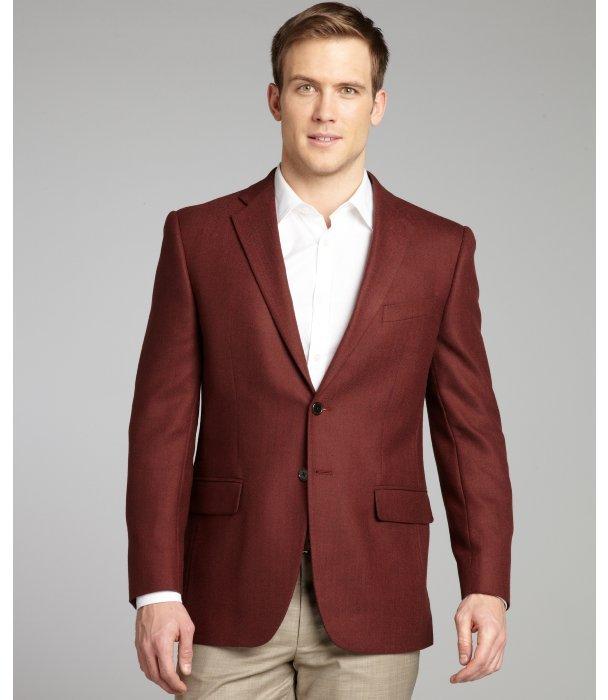 Joseph Abboud Burgundy Herringbone Wool Woven Sportcoat | Where to ...