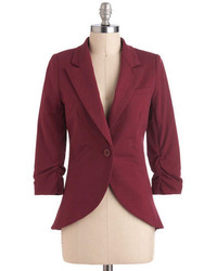 Esley Fine And Sandy Blazer In Burgundy