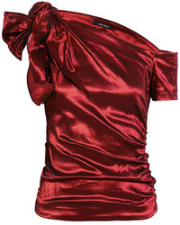 Isabel Marant Newton Ruched One Shoulder Stretch Taffeta Top Claret