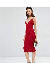 Asos Tall Asos Tall Strappy Back Wrap Front Midi Bodycon Dress