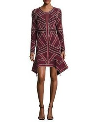 Herve Leger Asymmetrical Crisscross Bandage Dress