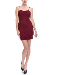 B Sharp Collection Faux Suede Bodycon Mini Burgundy Dress
