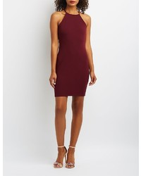 Charlotte Russe Bib Neck Lattice Inset Bodycon Dress
