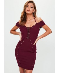 Missguided Burgundy Metal Bar Detail Eyelet Dress
