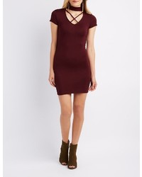 Charlotte Russe Choker Neck Lattice Bodycon Dress