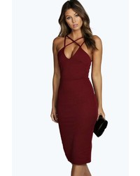 Boohoo Clara Strappy Detail Bodycon Midi Dress