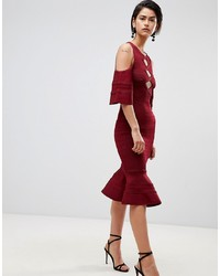 Forever Unique Cold Shoulder Dress With Peplum Hem