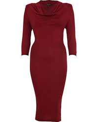 River Island Dark Red Cowl Neck Midi Dress