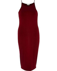 River Island Dark Red Racer Front Bodycon Midi Dress